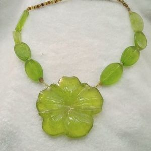 Lime Green Pansy- Bead Lampwork Statement Necklace